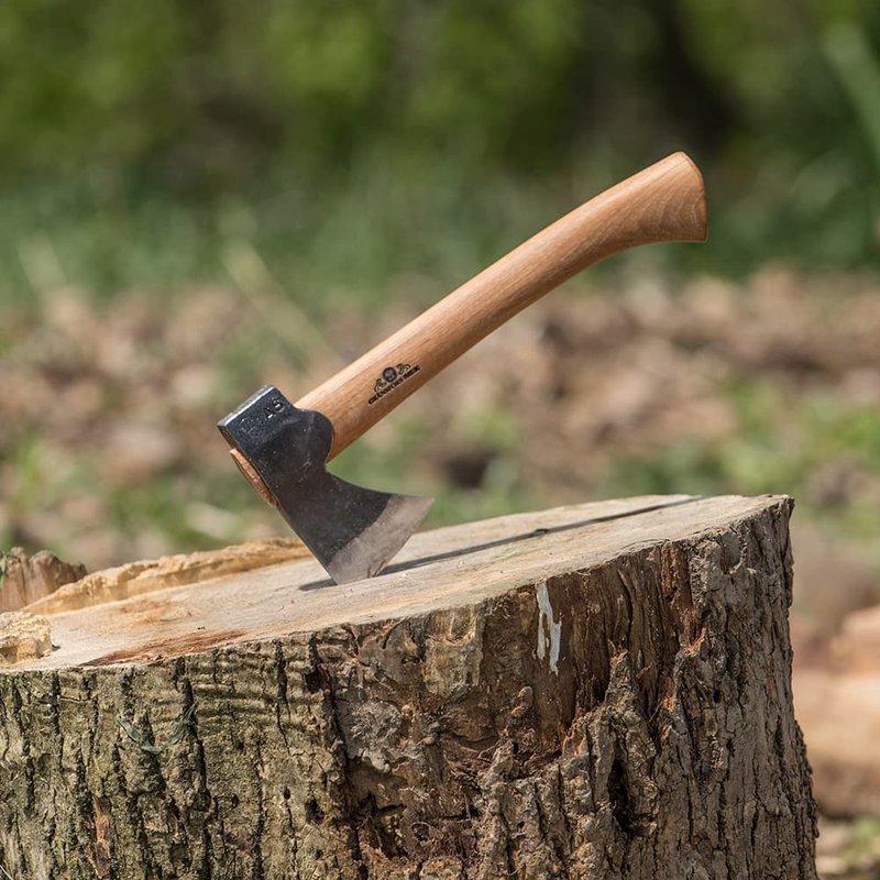 hatchet in tree stump