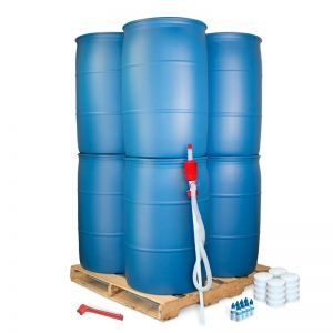55 Gallon Water Barrels Stacked