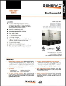 GENERAC Protector Specification sheets