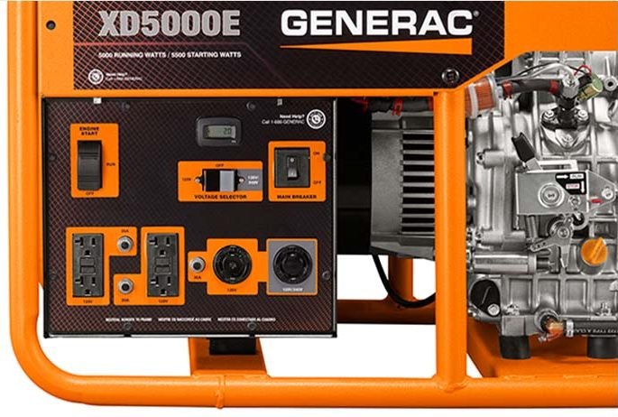GENERAC XD5000E Power Outlets and Control Panel