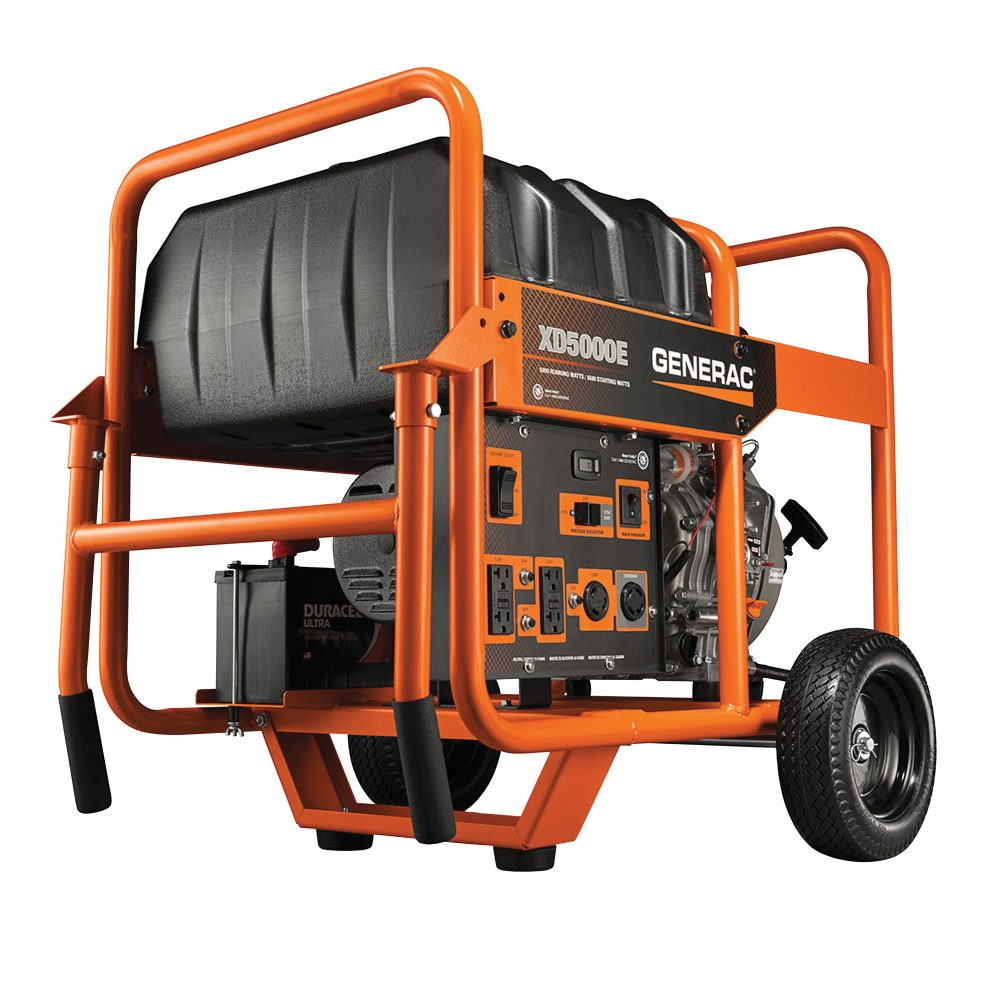 Generac XD5000E Fitted with Handles and Wheel Kit