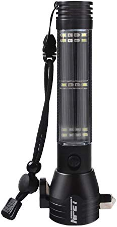 NPET T09 Solar Flashlight standing upright