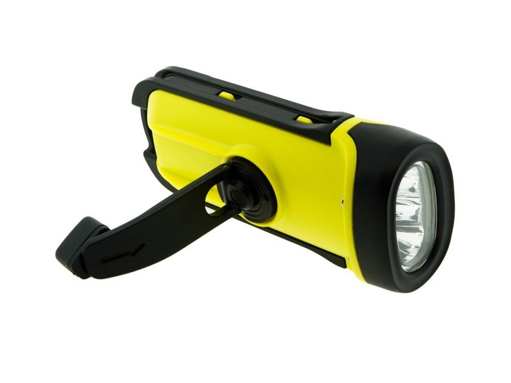 SECUR Dynamo 8 Lumen Solar Flashlight showing crank handle