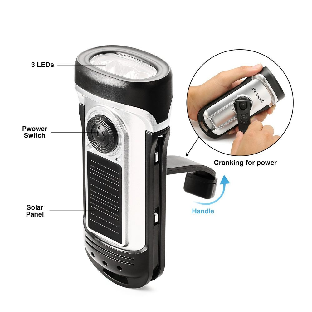 Thorfire Solar Flashlight hand crank charger
